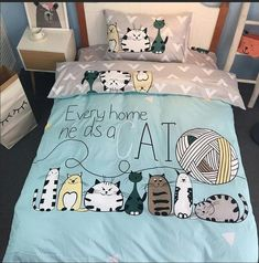 J pinno cotton cute cat family kid teenager bedding set duvet quilt cover sheets pillowcase bed size Price history. Cute Duvet Covers, Pillow Covers, Cute Bedding, Unique Bedding, Luxury Bedding Sets, Cool Beds, Bed Sizes, Quilt Cover, Blanket Cover