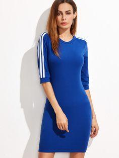 Blue Striped Raglan Sleeve Sheath Dress