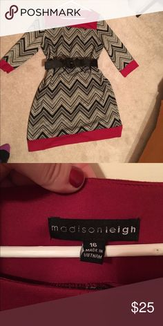 Gorgeous chevron dress w red accents size 16 Gorgeous chevron dress w red accents by Madison Leigh size 16. Belt sold separate madison leigh Dresses Midi