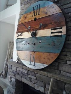 ***NOTE*** When ordering please use the Request Custom Order button This clock is made from an old wooden wire spool. It has been sanded, Industrial Clocks, Rustic Wall Clocks, Wood Clocks, Rustic Walls, Industrial Farmhouse, Wall Clock Wooden, Antique Clocks, Wooden Cable Spools, Wood Spool
