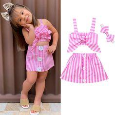 New Summer Newborn Baby Girl Cute Pink Clothes Cotton Sleeveless Stripe Tops+Tutu Skirt Summer Outfits Frocks For Girls, Dresses Kids Girl, Kids Outfits Girls, Little Girl Outfits, Pink Outfits, Baby Outfits, Summer Outfits, Newborn Baby Girl Dresses, Baby Girl Frocks