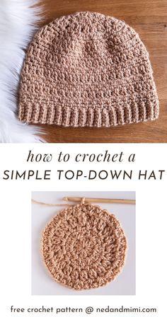 Crochet Beanie Hat Free Pattern, Easy Crochet Hat Patterns, Crochet Hat Tutorial, Crochet Ideas, Crochet Stitches, Crochet Wool, Crochet Cap, Quick Crochet, Diy Crochet