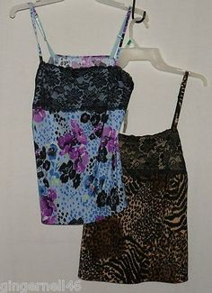 Animal Print & Purple Lace Camisoles Teddies Size Small Lot of 2 from George New