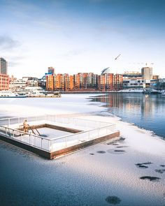 """Hole in the ice ❄️? Jump in! Have you ever tried ice swimming or is it still on your bucket list?🥶 ➡️ Read more about saunas and ice swimming in Tampere from our article """"Is there a hole in the ice? Jump in!"""" on VisitTampere.fi 📷 Laura Vanzo - Visit Tampere Examples Of Art, Art Nouveau Architecture, Saunas, Finland, Attraction, Bucket, Swimming, Ice, Water"""