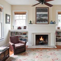 fireplace between windows Google Search Fireplace Pinterest