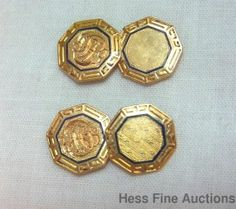 Antique Genuine 14K Gold Greek Key Octagon Edwardian Blue Enamel Cufflinks