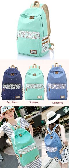 Fresh Polka Dot Mint Green Canvas School Backpacks only $33.99