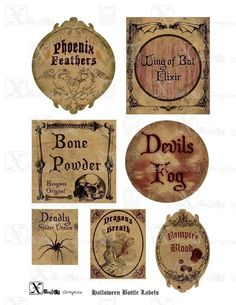 Haunted Halloween Spooky Bottle Labels  85 x 11 by XanderGraphics Halloween Bottle Labels, Halloween Apothecary Labels, Halloween Potions, Potion Labels, Haunted Halloween, Holidays Halloween, Happy Halloween, Halloween Party, Halloween Ideas