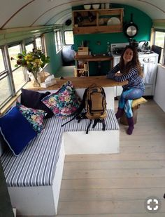 Larger alternate view of the Buns & Breakfast bus with their old stove. Kombi Trailer, Kombi Motorhome, Trailers, Campervan, Bus Living, Tiny House Living, School Bus Tiny House, School Buses, Bus Remodel