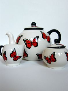 Tea Set Handpainted Butterflies in Black and Red (items can be sold individually). €120.00, via Etsy.