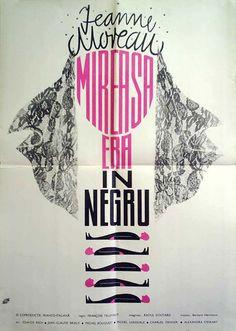 Romanian poster for THE BRIDE WORE BLACK (François Truffaut, France, 1968)