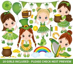 Patrick Clipart, Little Girls Clipart, Sticker Girl Clipart, Irish Clipart, St. Patrick Girl Clip Art for Personal and Commerci. Mermaid Clipart, Girl Clipart, San Patrick Day, St Patricks Day Clipart, Halloween Paper Crafts, Girls Clips, Christmas Chalkboard, Celtic Patterns, Digital Scrapbook Paper