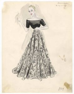 Bergdorf Goodman sketches: Downs 1934-1939. Costume Institute Bergdorf Goodman Sketches, 1929-1952. The Metropolitan Museum of Art, New York. Costume Institute (b17508952) @bergdorfs #bergdorfgoodman #fashion
