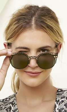 Black sunglasses with cool cutout metal front frames