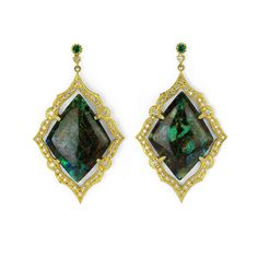 Inana earrings in 18k gold with Yowah Nut opal, 1.53 cts. t.w. diamonds, and 0.24 ct. t.w. emeralds, $16,500; Suneera