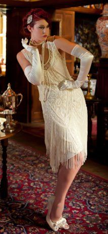 The Charleston Cream Bone : Beaded 1920's Style Gowns, Art Deco Gowns, 20's Flapper Fringe Dresses, Vintage Daywear, Hollywood Reproductions..... from LeLuxe Clothing