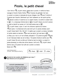 Picolo, le petit cheval : une histoire en texte et en images pour enfant de 1 à 5 ans. Téléchargez et imprimez le conte. #enfant #conte French Immersion, Reading Strategies, Jouer, Comprehension, Short Stories, Conversation, Images, Activities, Math