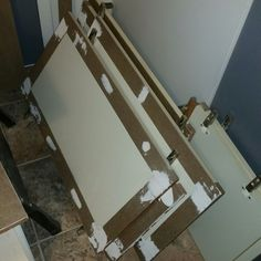 """Glued, nailed and filled holes/cracks in 2"""" strips of 1/8"""" hardboard."""