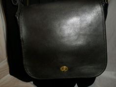 Vintage Coach British Black Stewardess Messenger Handbag, #9525 NYC hangtag