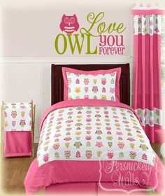 "Owl room wall vinyl - Owl  Love You Forever"" vinyl wall quote with cute owl."