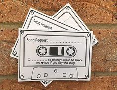 20 Wedding Song Request White Cards Vintage Retro Shabby Chic Cassette Tape | eBay
