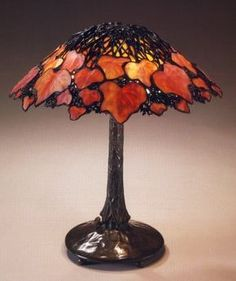 "Tiffany Studios, New York, Favrile Leaded Glass and Patinated Bronze ""Virgina Creeper"" Lamp."
