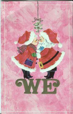 Vintage Christmas Festival Card Santa and Mrs Claus under Mistletoe Vintage Pink Christmas, Purple Christmas, Christmas Holidays, Christmas Things, Father Christmas, Christmas Card Images, Christmas Pictures, Xmas Cards, Christmas Artwork