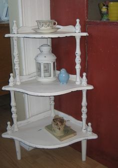 """""""French Country"""" Style Chalk Painted Vintage Corner Shelf!    This charming vintage """"chic"""" corner shelf is finished in my own mix of """"old white"""" chalk paint. Softly distressed to give it the perfect """"aged"""" finish, revealing the dark brown original undertone. Treated to clear wax for a durable finish. A pretty piece for just about any corner that needs a little sprucing up! Add your favorite decor and enjoy!"""