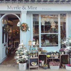 Myrtle & Mint This floral shop is located in the historical town of Ipswich, Suffolk. Flower Shop Design, Shop Front Design, Garden Shop, Garden Cafe, Shop Facade, Flower Market, Flower Shops, Lovely Shop, Shop Fronts