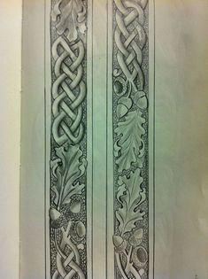 Oak leaves and Celtic knotwork Custom Leather Belts, Leather Jewelry, Leather Craft, Celtic Patterns, Celtic Designs, Leather Carving, Leather Tooling, Leather Working Patterns, Acorn And Oak