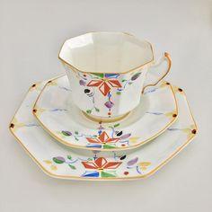Vintage Art Deco teacup trio Radfords 1940s - Tea cup, saucer, plate - Vintage English Bone China