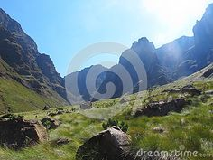 Photo about Hike to Rhino Peak in uKhahlamba Drakensberg National Park in Southern Drakensberg mountains, South Africa. Image of spring, south, rough - 104463071