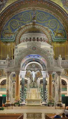 """jay-alfred-prufrock: """" signorcasaubon: """" Another favorite of mine: the truly stunning High Altar and Baldachin of the Cathedral Basilica of Saint Louis in Saint Louis, Missouri, USA """" YES MY CHURCH (not my parish, but still! Cathedral Basilica, Cathedral Church, Church Architecture, Religious Architecture, Missouri, Wisconsin, Michigan, Old Churches, Catholic Churches"""