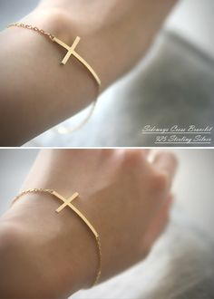 Gold Side Cross Bracelet at Kellinsilver.com – Sideways Cross Bracelet, Silver Cross Bracelet, Cross Jewelry