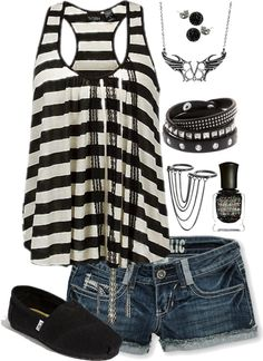 The tank top. Looks so comfy for hot, humid southern summers. Short Outfits, Casual Outfits, Summer Outfits, Cute Outfits, Cute Fashion, Teen Fashion, Fashion Outfits, Fashion Ideas, Diesel Punk