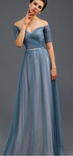 417eb781fb35 Blue Off the Shoulder Slim Wedding Party Dress