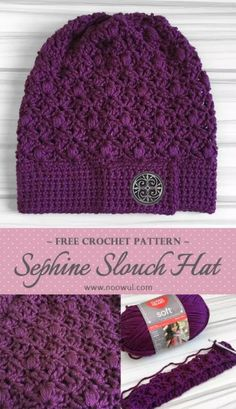 Free Crochet Pattern - Sephine Slouch Hat on Noowul. Crochet Adult Hat, Bonnet Crochet, Crochet Winter Hats, Crochet Beanie Pattern, Crochet Geek, Cute Crochet, Crochet Crafts, Crochet Patterns, Crochet Designs