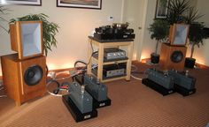 British horn loaded speakers along with tubed powered amplification.  NO stinkin' CD or digital source on sight!
