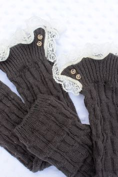 Leg warmers : Boot Leg Warmers with Lace / Boot Socks / Adult cable knit Leg warmers / Dark Grey Leg Warmers With Lace. $28.00, via Etsy.
