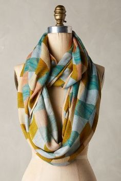 Bayset Anthropologie Infinity Scarf - Love the teal with chartreuse check pattern, looks so perfect for fall layering.