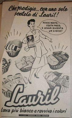 """www.piziarte.net La pubblicità negli anni 50 """"Lauril."""" dalla rivista settimanale """"Il Tempo"""" 1954."""