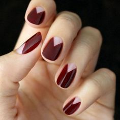 Deep red nail art