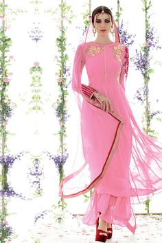 Gracious Pink Color Embroidered Salwar Kameez Latest Salwar Suits, Latest Salwar Kameez, Simple Sarees, Lehenga Designs, Indian Suits, Saree Collection, Pink Color, Pakistani, Stylish