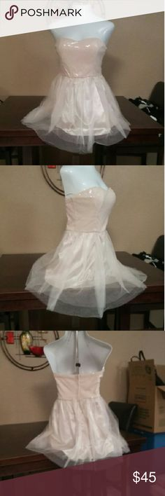 """Agaci Pale Pink Semi Formal Gown Dress Large Brand New! Strapless Pale Pink Gown Dress Lined with Tooled Bottom in Size Large. The perfect little semi formal dress for sweet 16 or Home Coming. Puts the """"P"""" in Princess. Retail  $250.00 Agaci Dresses Strapless"""