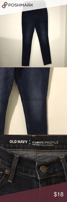 NWOT Old Navy Curvy Jeans Jeans have never been worn. Dark wash. Curvy, mid-rise, skinny jeans. Size 0 regular from Old Navy. Old Navy Jeans Skinny