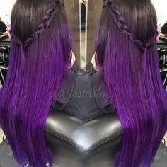 Purple black ombre hair