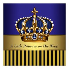 Navy Blue Black Gold Prince Baby Boy Shower Invitation