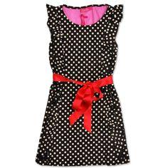 Bomba black/white polka dot dress, red satin bow. € 79,95