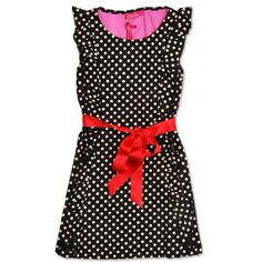 Bomba black/white polka dot dress, red satin bow. € 79,95 Would be great with the bright red mary janes by gestipt.com