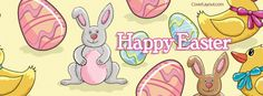 Happy Easter Bunnies Eggs Duck Facebook Cover CoverLayout.com